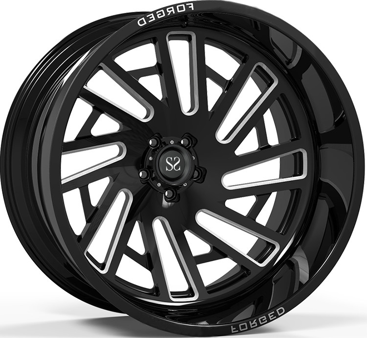 Off Road Rims 24x12 and 24x14 Gloss Black Deep Lip Customized 4x4 Wheels Rim