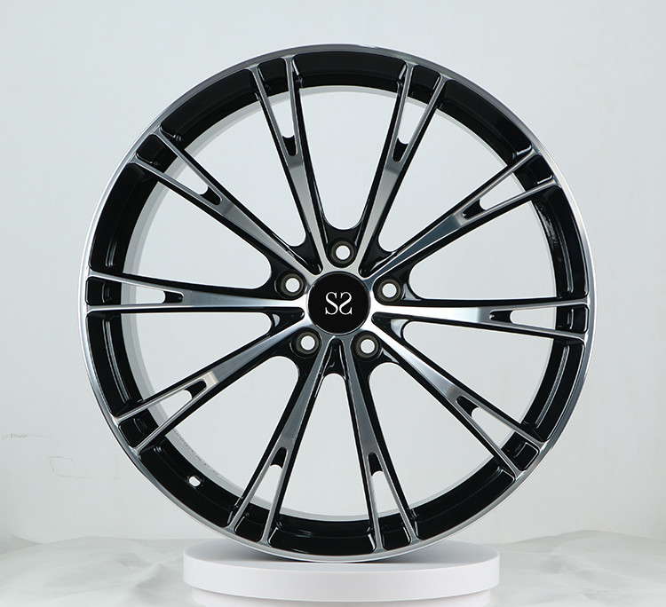 Customized Multi - Spokes Black Machined 1-Piece Forged 21 Inch Alloy Car Rims